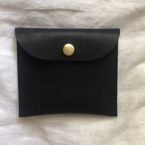 Black Leather Pouch Wallet